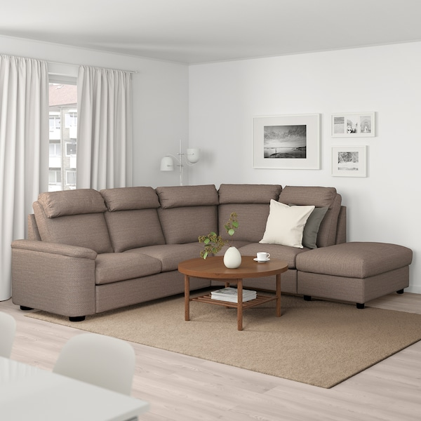 LIDHULT Sectional, 5-seat corner, with open end/Lejde beige/brown