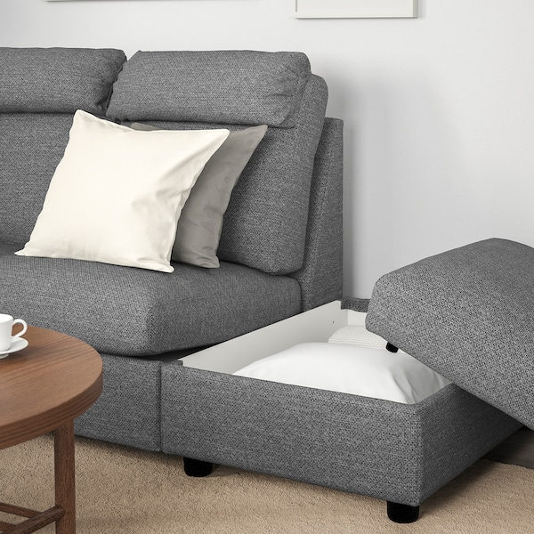 LIDHULT Sectional, 5-seat corner, with open end/Lejde gray/black