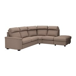 LIDHULT sectional, 5-seat corner, with open end, Lejde beige/brown