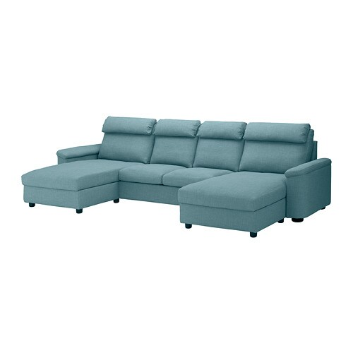 lidhult sectional 4 seat with chaise gassebol blue gray ikea. Black Bedroom Furniture Sets. Home Design Ideas