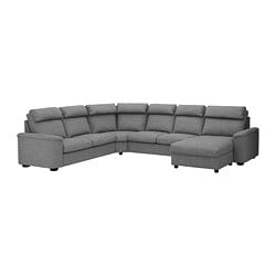 LIDHULT sectional, 5-seat, with chaise, Lejde gray/black