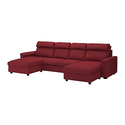 LIDHULT sectional, 4-seat, with chaise, Lejde red/brown red-brown