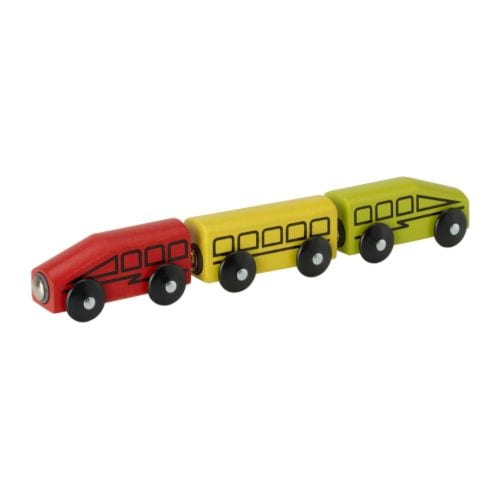LILLABO 3-piece train set IKEA The magnets make the cars easy to join.  Can be used with most other railway systems on the market.