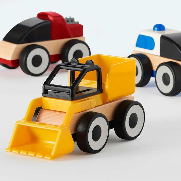 """LILLABO toy vehicle mixed colors 4 ¼ """" 2 ¾ """" 4 ¾ """" 3 pack"""