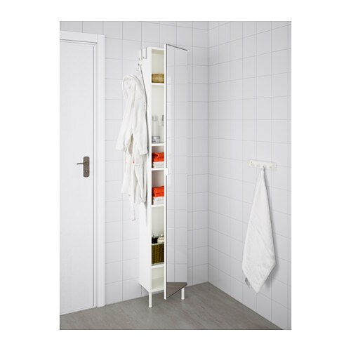 LILLÅNGEN High cabinet with mirror door - stainless steel, white ...
