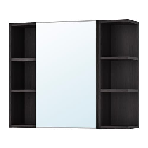 LILLÅNGEN Mirror cabinet 1 door/2 end units, black-brown black-brown 30 3/4x8 1/4x25 1/4