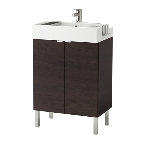 LILLÅNGEN Sink cabinet with 2 doors, black-brown stainless steel black-brown 23 5/8x16 1/8x36 1/4