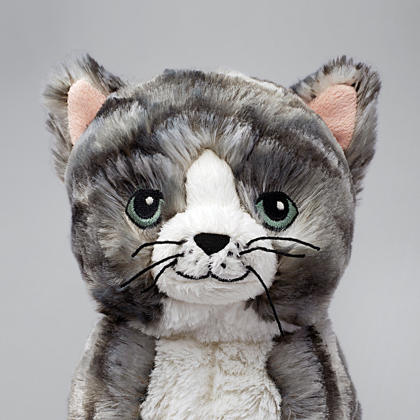 LILLEPLUTT soft toy cat gray/white