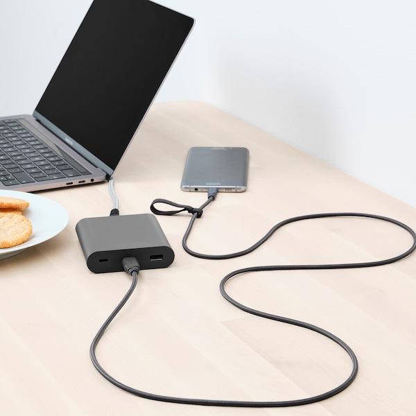 "LILLHULT USB type A to micro-USB, dark gray, 4 ' 11 """