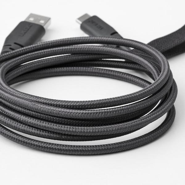 "LILLHULT USB type A to USB type C cord, dark gray, 4 ' 11 """