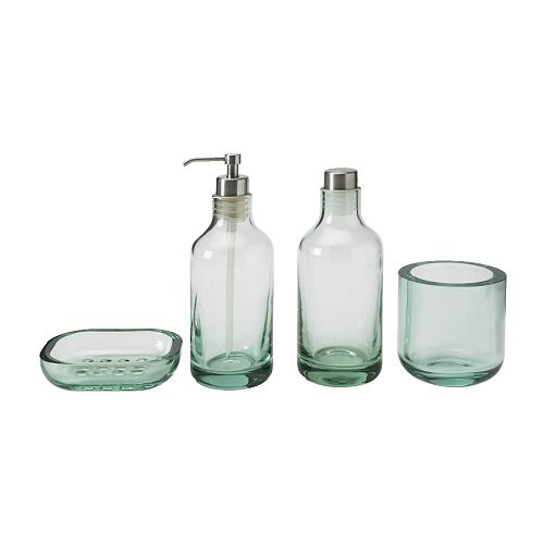 LIMMAREN 4-piece bathroom set IKEA Dishwasher safe.