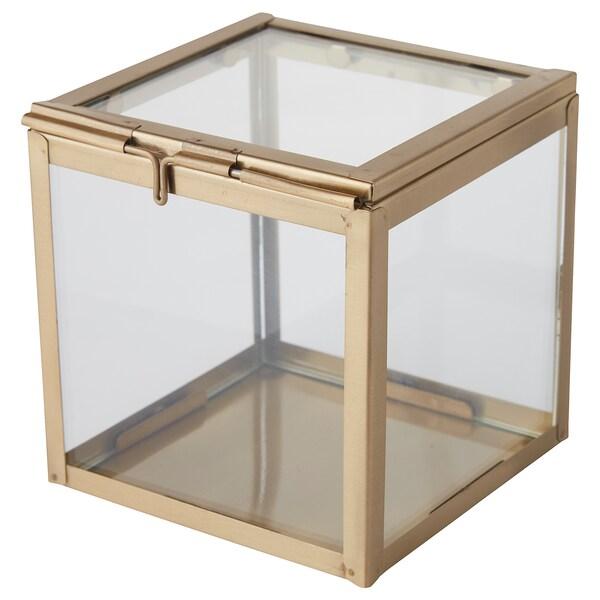 "LINDRANDE decorative box clear glass/brass color 4 ¾ "" 4 ¾ "" 4 ¾ """