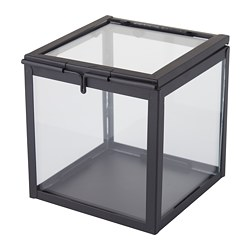 LINDRANDE decorative box, clear glass, black