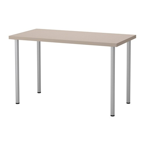 linnmon adils table geometric beige silver color ikea