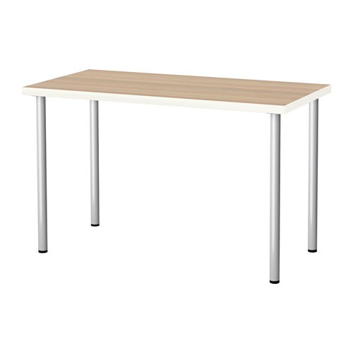 Linnmon Adils Table White White Stained Oak Effect