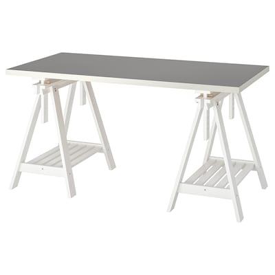 """LINNMON / FINNVARD table light gray/white 59 """" 29 1/2 """" 110 lb 4 oz"""