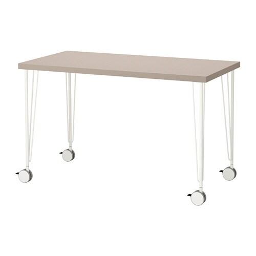Linnmon krille table geometric beige white ikea - Scrivania vetro ikea ...