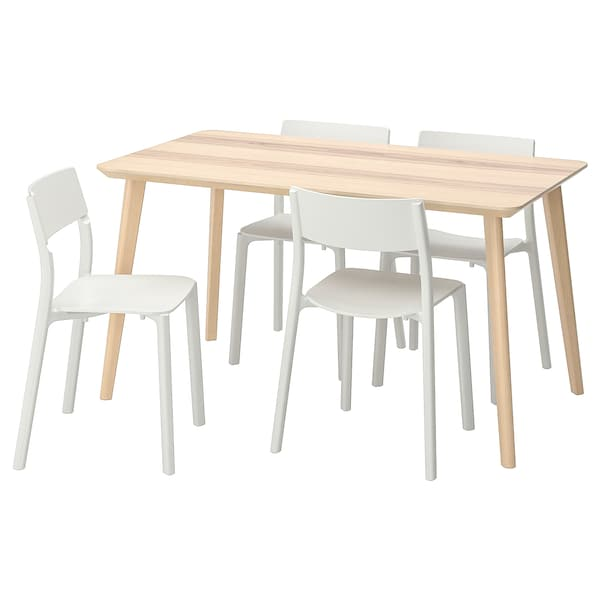 """LISABO / JANINGE Table and 4 chairs, ash veneer/white, 55 1/8x30 3/4 """""""