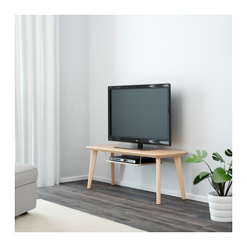 LISABO TV unit IKEA A TV bench with clean and simple lines and an extra shelf that holds a digital TV receiver or a DVD player.