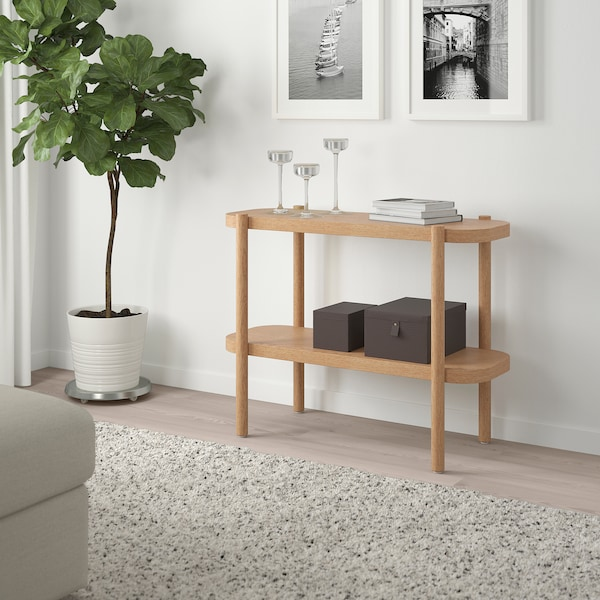 """LISTERBY Console table, white stained oak, 36 1/4x15x28 """""""