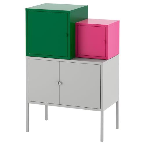 "LIXHULT storage combination gray dark green/pink 27 1/2 "" 36 1/4 "" 23 5/8 "" 13 3/4 "" 8 1/4 """