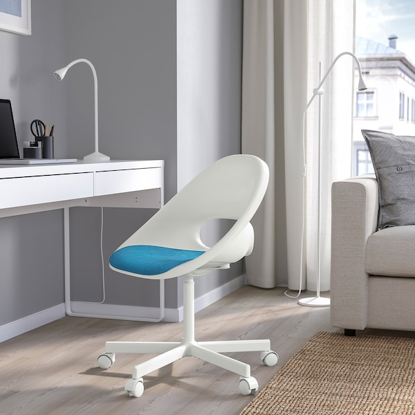 LOBERGET / BLYSKÄR Swivel chair with pad, white/blue