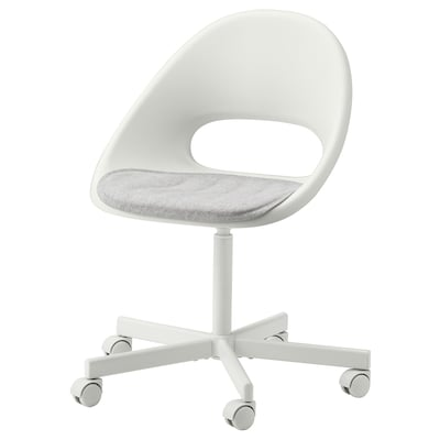 LOBERGET / BLYSKÄR Swivel chair with pad, white/light gray