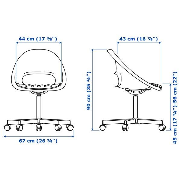 LOBERGET / BLYSKÄR Swivel chair with pad, white/light gray