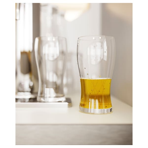 LODRÄT Beer glass, clear glass, 17 oz