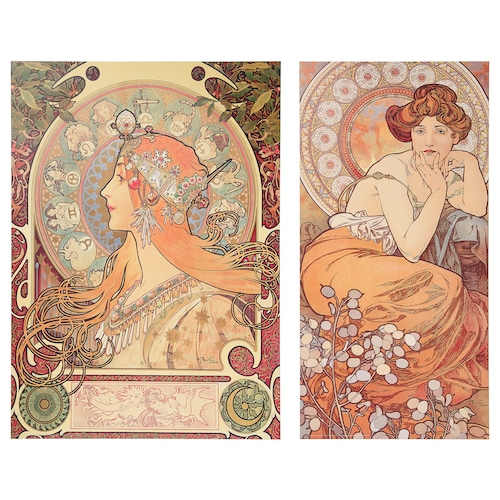 IKEA LOKABRUNN Art print on wood, set of 2