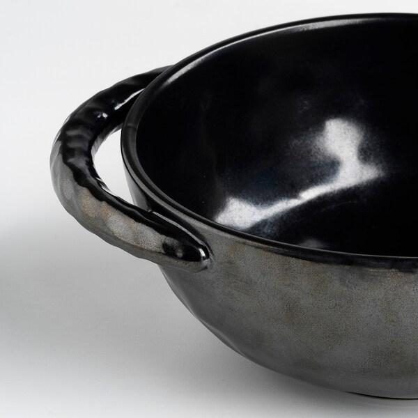 """LOKALT Serving bowl, black/handmade, 5 """""""