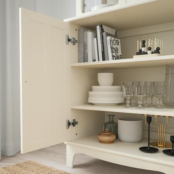 """LOMMARP Cabinet with glass doors, light beige, 33 7/8x78 3/8 """""""