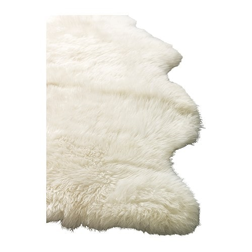 Ikea rens white sheepskin rug for Lambskin rug ikea