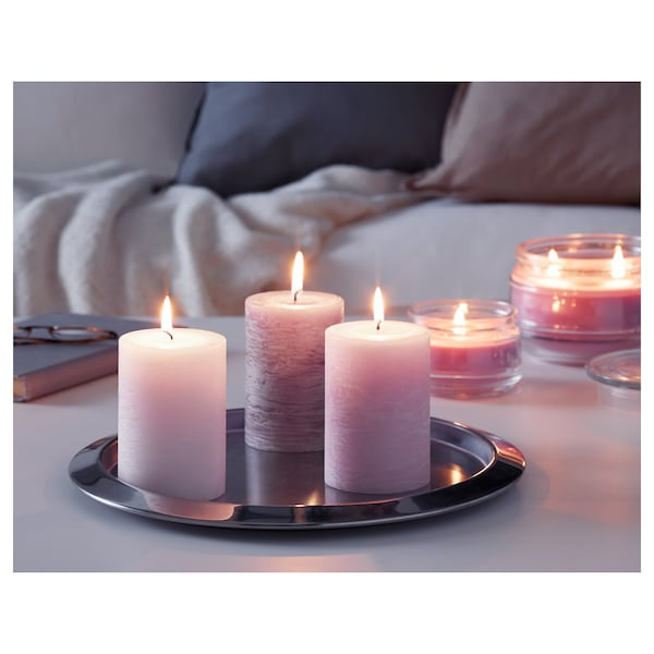 """LUGGA scented block candle Blossoming romance pink 4 """" 2 ¾ """" 30 hr 3 pack"""