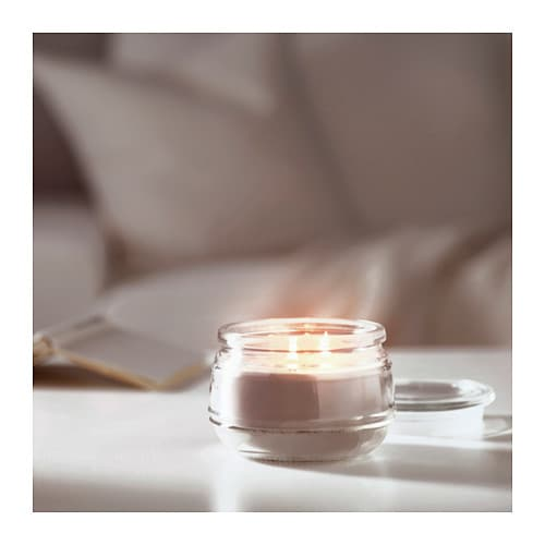 LUGGA Scented candle in glass, 2 wicks IKEA Creates atmosphere with a pleasant scent of soft vanilla and warm candlelight.