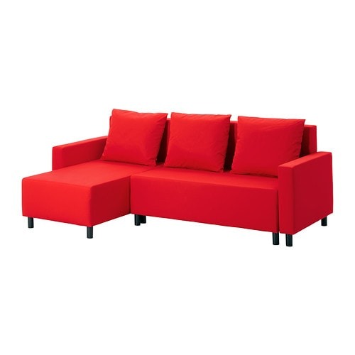 Lugnvik sofa bed with chaise gran n red ikea for Angled chaise lounge sofa