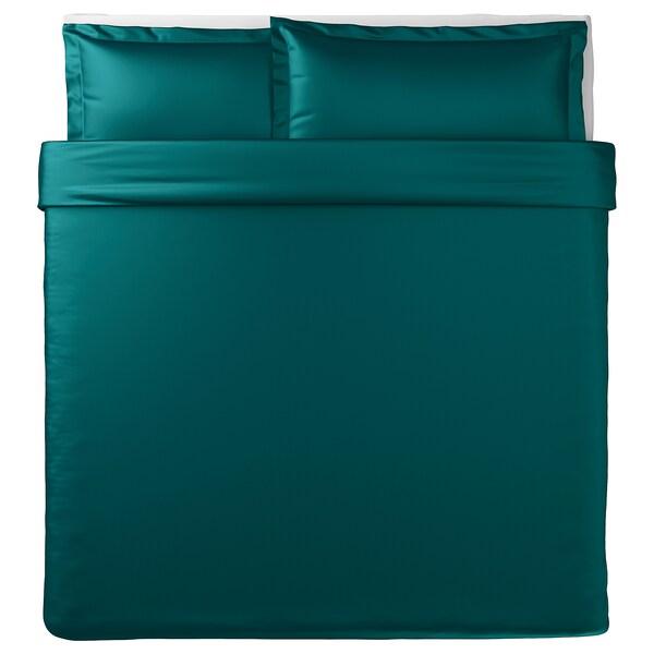 LUKTJASMIN Duvet cover and pillowcase(s), dark green, King