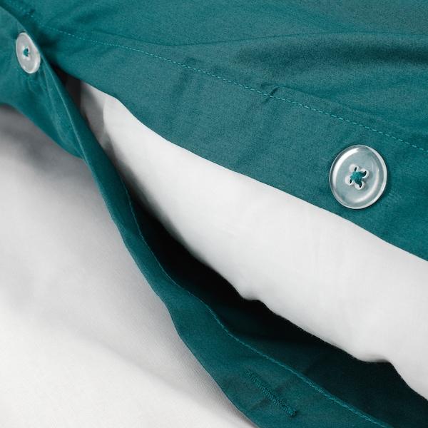 LUKTJASMIN Duvet cover and pillowcase(s), dark green, Full/Queen (Double/Queen)