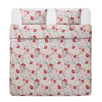 LUNDSLOK Duvet cover and pillowcase(s), multicolor, Full/Queen (Double/Queen)
