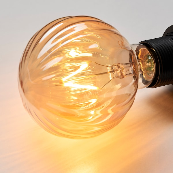 LUNNOM LED bulb E26 80 lumen, globe stripe/brown clear glass