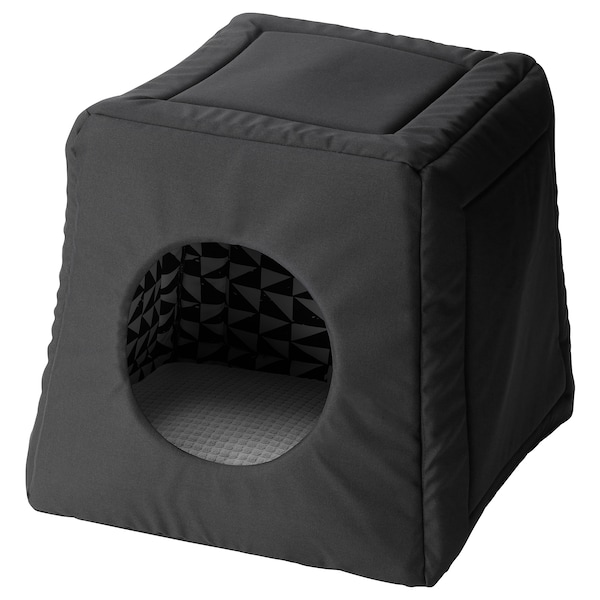 LURVIG Cat bed with pad, black white/light gray, 15x15x14 5/8 ""