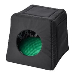 LURVIG cat bed with pad, black, green