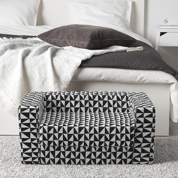 """LURVIG Cat/dog bed with cover, black/white, 26 ¾x27 ½ """""""
