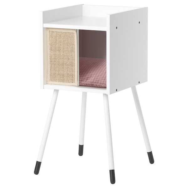 LURVIG Cat house on legs with pad, white/pink