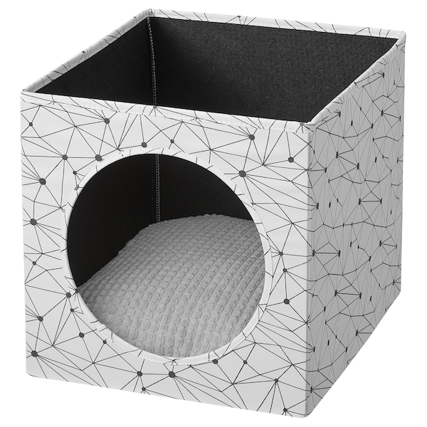 "LURVIG Cat house with pad, white/light gray, 13x15x13 """