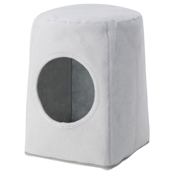 LURVIG Cat house with stool, light gray/white