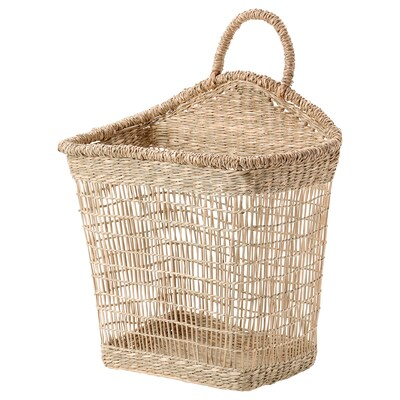 LUSTIGKURRE Basket, natural seagrass, 11 ¾x7 ¾x13 ¾ ""
