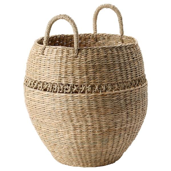 "LUSTIGKURRE Basket, natural seagrass, 19 ¾x15 ¾ """