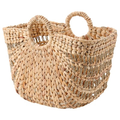 LUSTIGKURRE Basket, natural water hyacinth/seagrass, 13x18x14 ½ ""