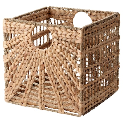 LUSTIGKURRE Basket, natural water hyacinth/seagrass, 12 ½x13x12 ½ ""